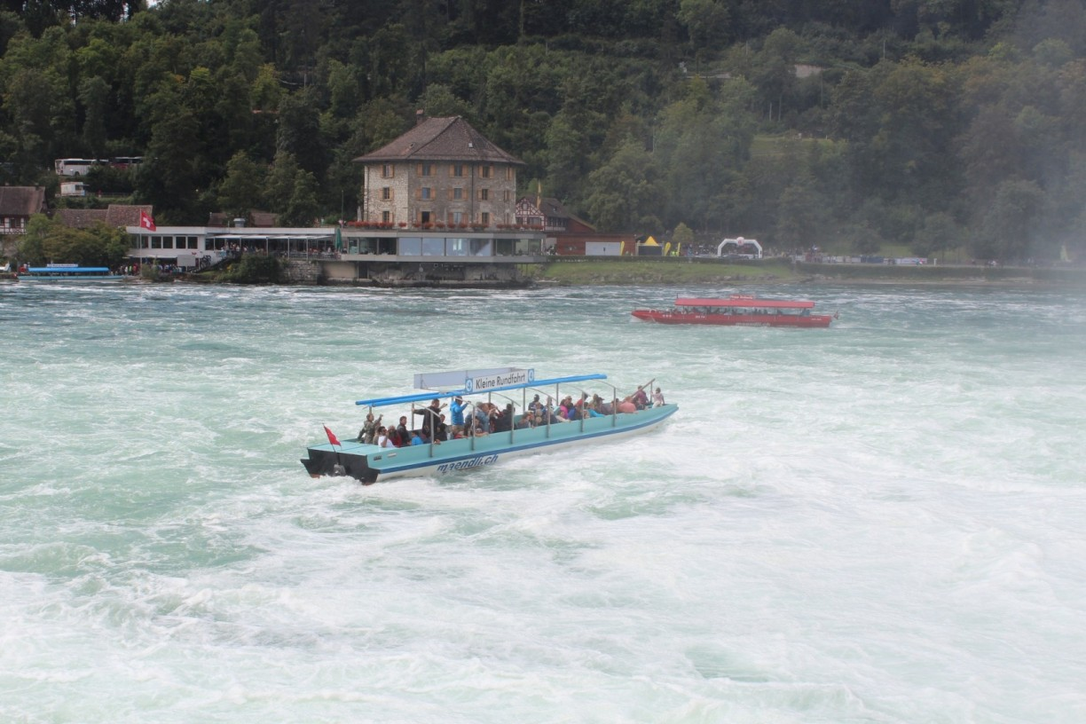 Boats under the Rhine Falls